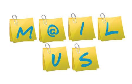 mail us post message illustration design over a white background