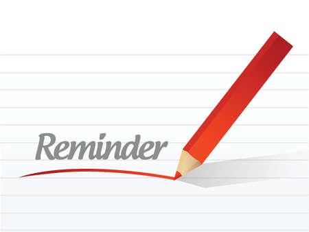 implication: reminder message illustration design over a white background