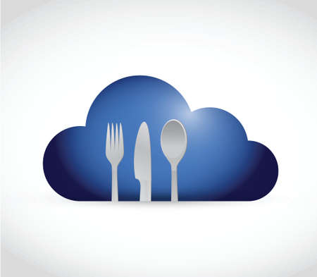 cloud and utensils. illustration design over a white background Vector