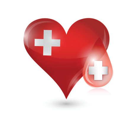 credentials: heart medical symbol illustration design over a white background
