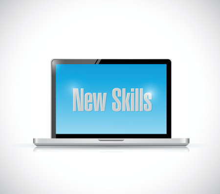 new skills sign on a computer illustration design over a white background Vector