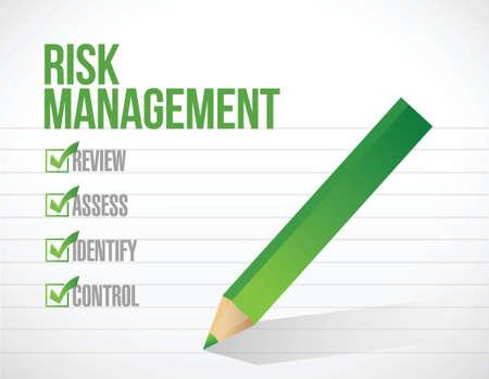 risicobeheer tick vinkje illustratie ontwerp op een witte achtergrond