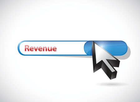 revenue search bar and cursor. online concept illustration design over a white background
