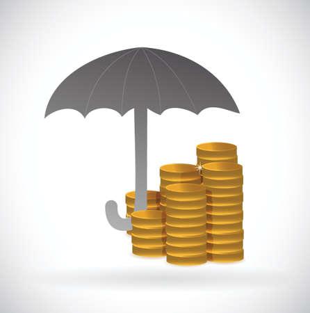 흰색 배경 위에 우산 통화 보호 그림 디자인