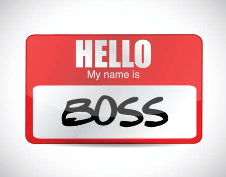 superintendent: boss name tag illustration design over a white background