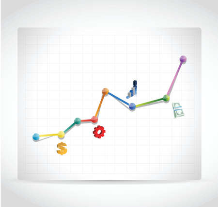 color business icons graph illustration design over a white background Ilustracja