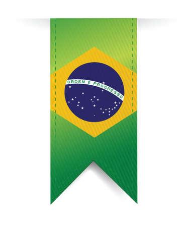 brazilian flag illustration design over a white background Ilustrace