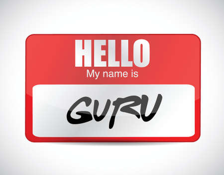 moderator: guru name tag illustration design over a white background