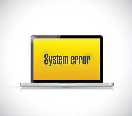 error message: system error message on a computer. illustration design over a white background