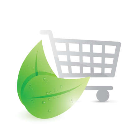 shopping cart and eco leaves illustration design over a white background