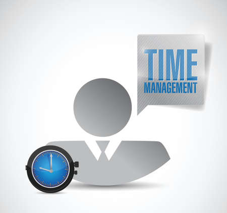 flexible business: time management avatar employee. illustration design over a white background