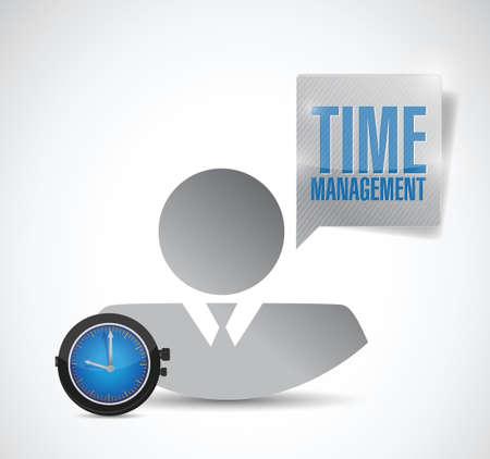 time management avatar werknemer. illustratie ontwerp op een witte achtergrond Stock Illustratie