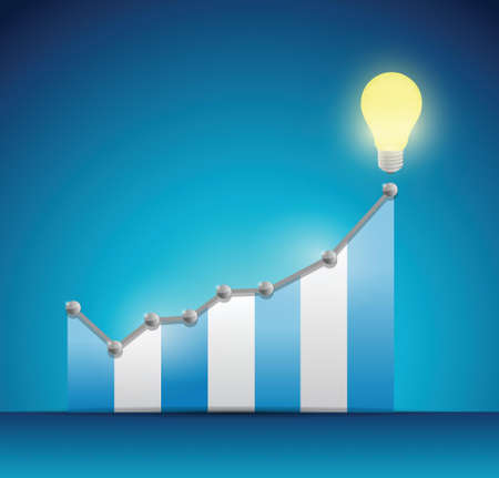business graph and a bright light bulb illustration design over a blue background Illustration