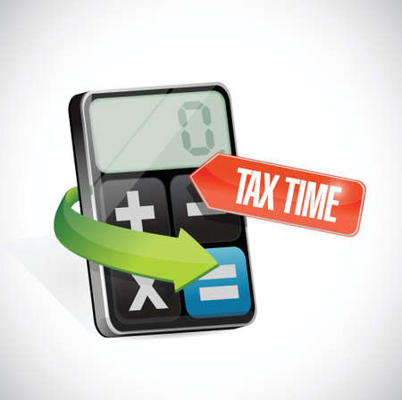 tax time sign and calculator illustration design over a white background Illusztráció