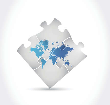 world map puzzle illustration design over a white background Vector