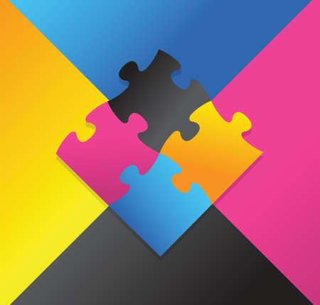 color puzzle illustration design over a multicolor background