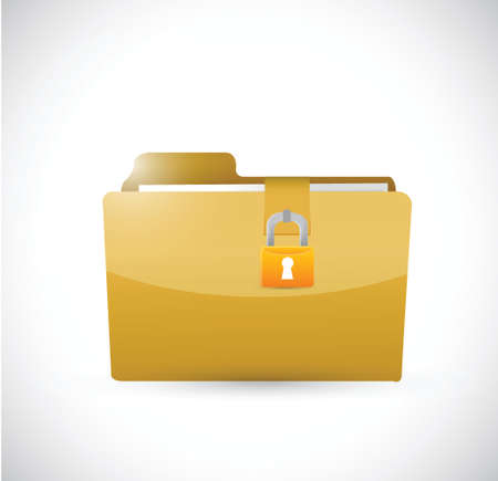 folder lock: private folder and lock. illustration design over a white background