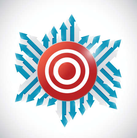arrows around a red target. illustration design over a white background Vector
