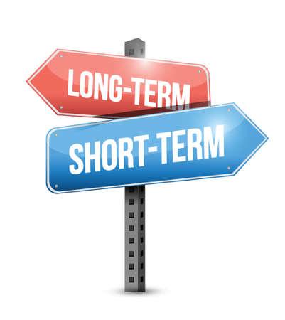 reverse: long-term, short-term road sign illustration design over a white background