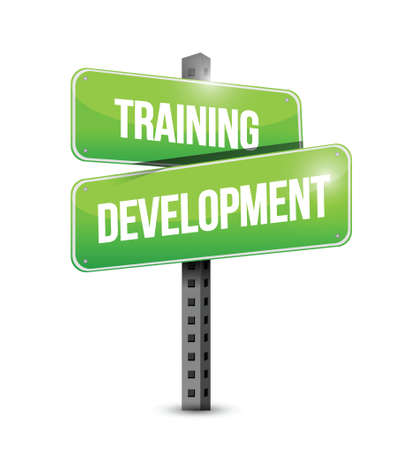 employee development: training development street sign illustration design over a white background Illustration