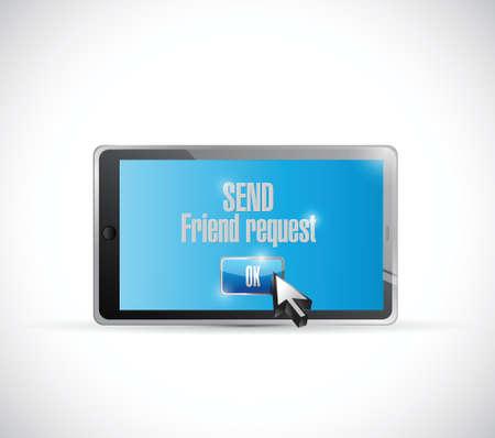 send friend request social media. illustration design over a white background