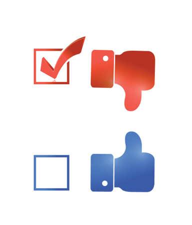 thumbs down check mark tick illustration design over a white background Illustration