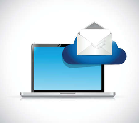 computer and email cloud illustration design over a white background Vector
