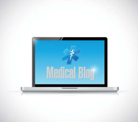 computer laptop medical blog sign illustration design over a white background