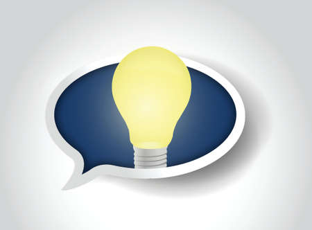 great idea light bulb message bubble illustration design over a white background  イラスト・ベクター素材