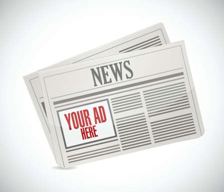 your ad here space on a newspaper. illustration design over a white background