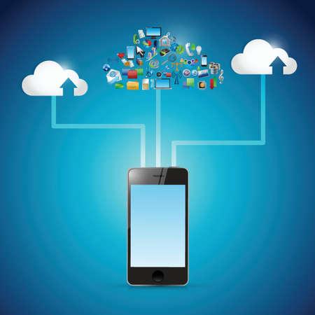 青い背景の上電話クラウド アイコン ネットワーク イラスト デザイン