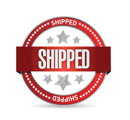 shipped: shipped seal illustration design over a white background