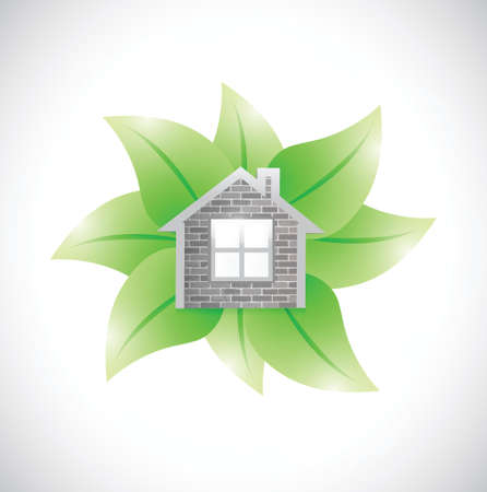 reprocessing: leaves and home illustration design over a white background Illustration
