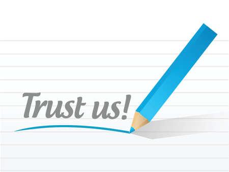 trust us message illustration design over a white background