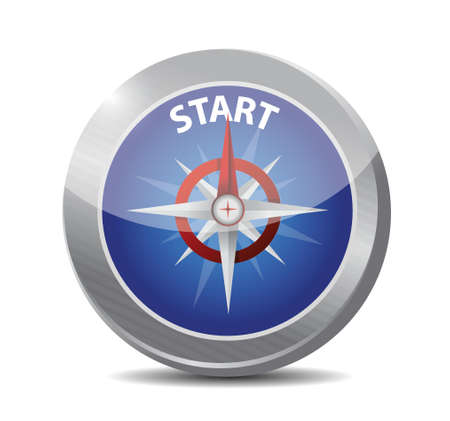beginnings: guide compass to the start. illustration design over a white background