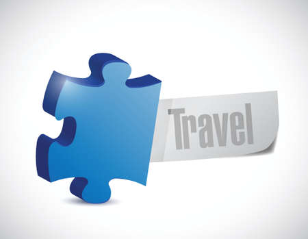 puzzle travel sign illustration design over a white background Vector