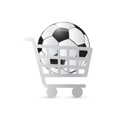 shopping cart and soccer illustration design over a white background