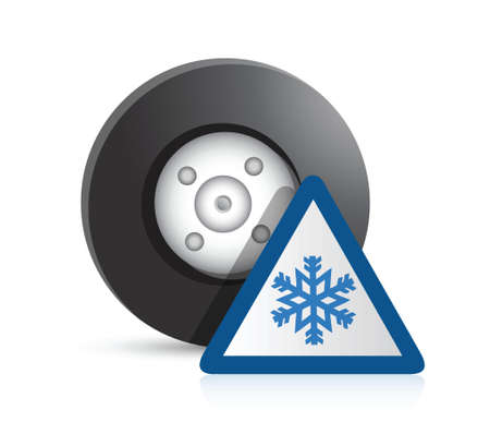 winter car: wheel and snowflake sign illustration design over a white background