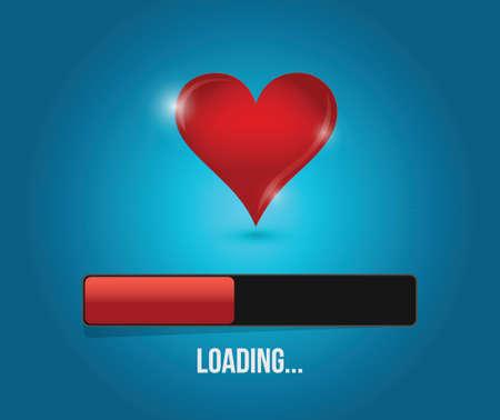 love loading bar illustration design over a blue background