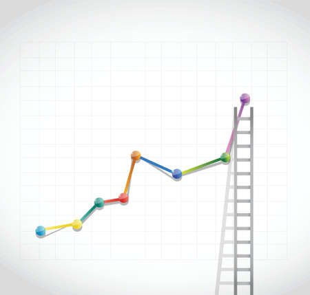 business graph and ladder illustration design over a white background Vector