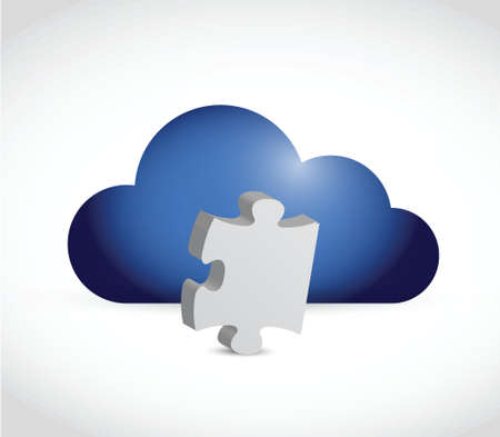 cloud and puzzle piece illustration design over a white background