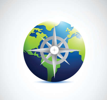globe and compass illustration design over a white background Vector