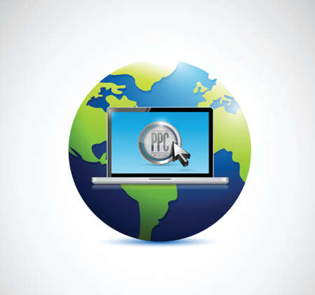 computer laptop and globe. illustration design over a white background Stock Vector - 27969220
