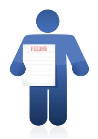 documentation: holding a resume. illustration design over a white background