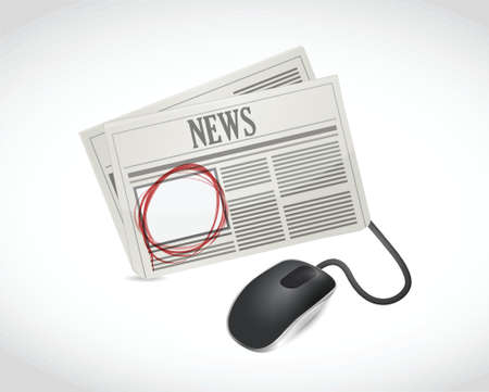 job opportunity: newspaper online ad space illustration design over a white background