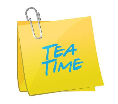 tea time post message illustration design over a white background Vector