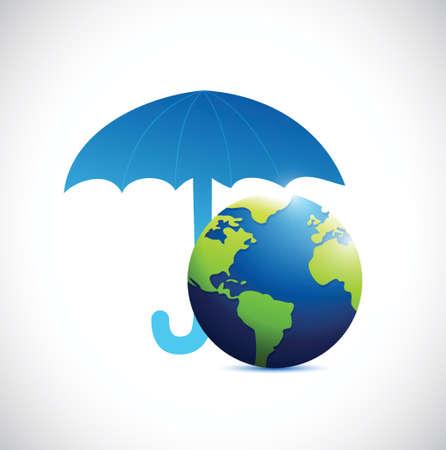 thaw: umbrella over a globe illustration design over a white background