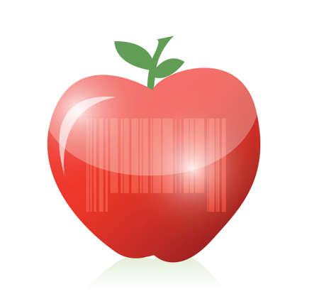 red apple and barcode illustration design over a blue background Illustration