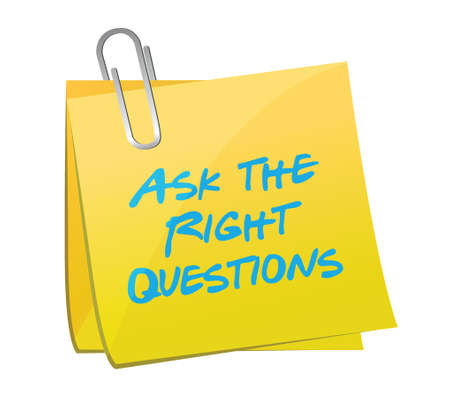 ask the right questions posts illustration design over a blue background