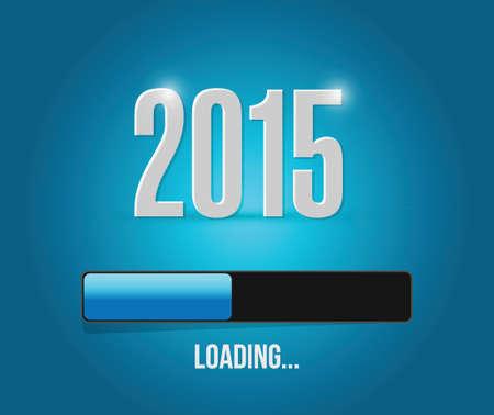2015 loading rok bar ilustrační design na modrém pozadí Ilustrace